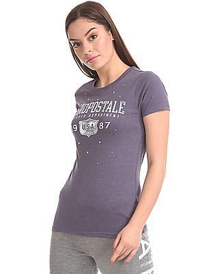 Aeropostale Pearl Embellished Brand Print T-Shirt