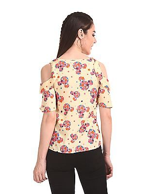 SUGR Floral Print Cold Shoulder Top