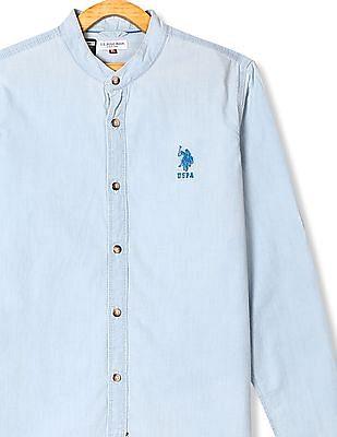 U.S. Polo Assn. Kids Blue Boys Mandarin Collar Chambray Shirt