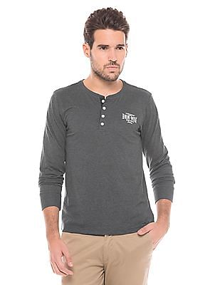 Flying Machine Heathered Regular Fit Henley T-Shirt