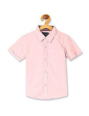 Cherokee Boys Spread Collar Short Sleeve Shirt