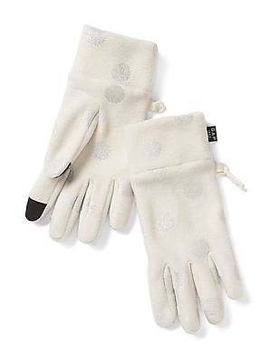 GAP Girls White Pro Fleece Tech Gloves