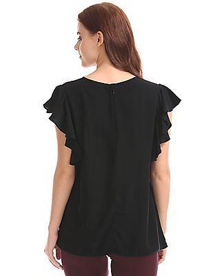 GAP Women Black Ruffle Sleeve Top