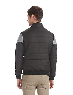 Flying Machine Black Detachable Hood Quilted Jacket