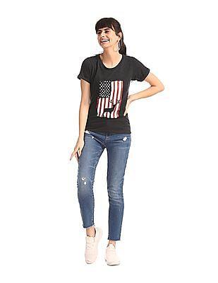 Cherokee Grey Flag Print Round Neck T-Shirt