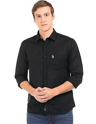 U.S. Polo Assn. Tailored Fit Linen Cotton Shirt