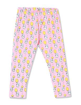 Donuts Girls Printed Cotton Stretch Leggings