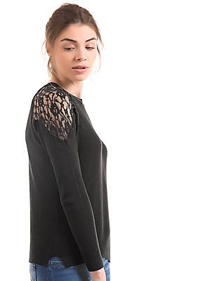 Arrow Woman Lace Panel Regular Fit Top