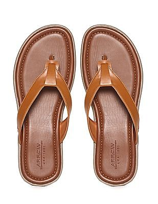 Arrow Brown Solid V-Strap Sandals