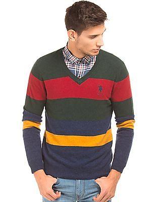 U.S. Polo Assn. Striped V-Neck Sweater