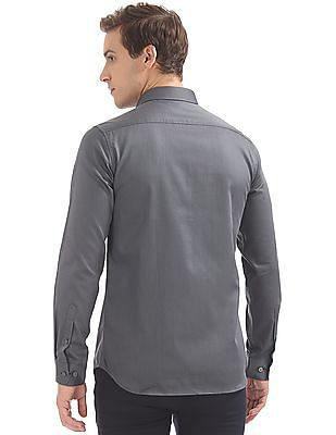USPA Tailored French Placket Patterned Shirt