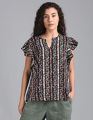 GAP Women Multi Colour Short Sleeve Cascade Ruffle Top