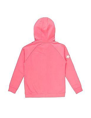U.S. Polo Assn. Kids Girls Hooded Raglan Sleeve Sweatshirt