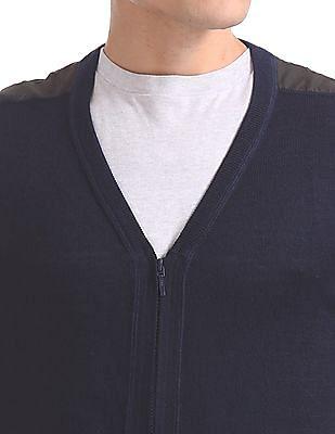 Arrow Newyork Merino Wool Zip Up Sweater