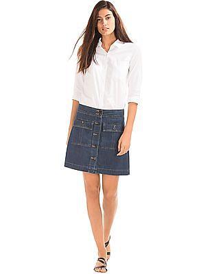 GAP Women Blue 1969 Denim Trapunto Waistband Skirt