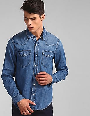 GAP Blue Slim Fit Western Shirt In Denim