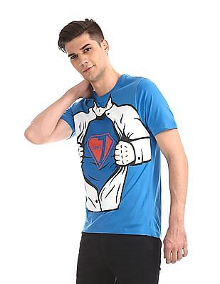 Colt Blue Round Neck Printed T-Shirt