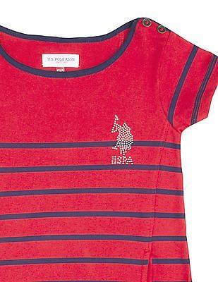 U.S. Polo Assn. Kids Girls Striped T-Shirt Dress