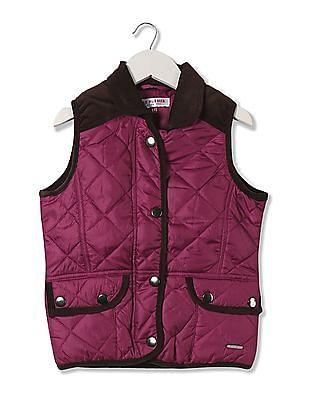 U.S. Polo Assn. Kids Girls Corduroy Trim Quilted Jacket