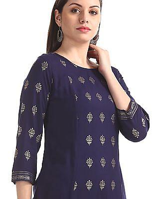 Anahi Blue Printed Kalidar Kurta