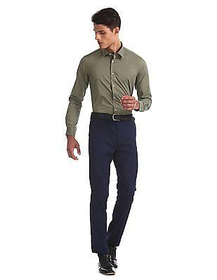 Arrow Newyork Green French Placket Cotton Stretch Shirt