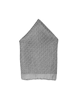 Arrow Grey Geometric Print Silk Pocket Square