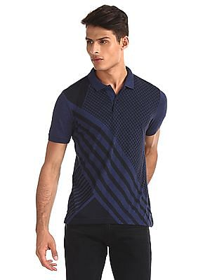 Arrow Newyork Blue Printed Regular Fit Polo Shirt