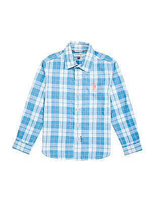 U.S. Polo Assn. Kids Boys Cutaway Collar Check Shirt