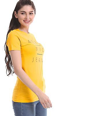 Aeropostale Yellow Embroidered Branding Cotton T-Shirt