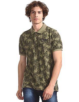 Flying Machine Green Regular Fit Printed Polo Shirt