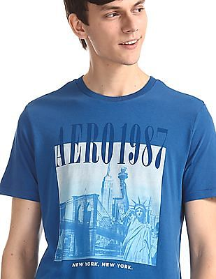 Aeropostale Blue Crew Neck Printed T-Shirt