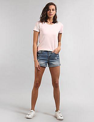 GAP Women Pink Short Sleeve Solid T-Shirt