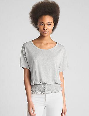 GAP Women Grey Short Sleeve Smocked Hem Top