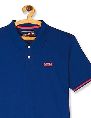 Flying Machine Blue Solid Jersey Polo Shirt