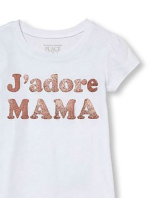 The Children's Place Toddler Girl White Short Sleeve Glitter 'J'adore Mama' Graphic Tee