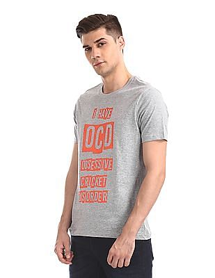 Colt Grey Crew Neck Printed T-Shirt