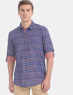 Cherokee Men Blue Horizontal Stripe Cotton Casual Shirt