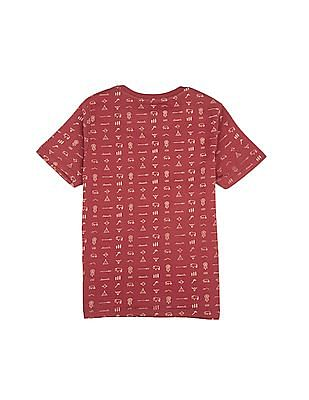 FM Boys Tribal Print Crew Neck T-Shirt