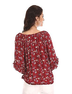 Cherokee Red Floral Print Peasant Top