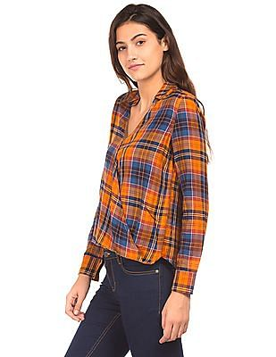 Aeropostale Wrap Front Check Top