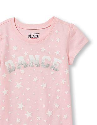 The Children's Place Toddler Girl Short Sleeve Glitter 'Dance' Star Print Graphic Tee