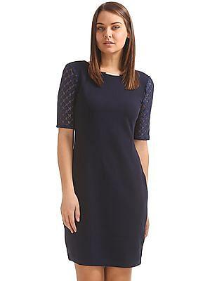 Elle Studio Lace Sleeve Knitted Sheath Dress