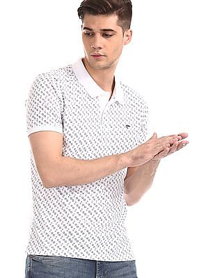 Ruggers White Short Sleeve Printed Polo Shirt