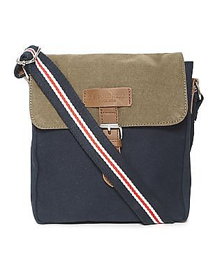 U.S. Polo Assn. Blue Colour Block Canvas Sling Bag