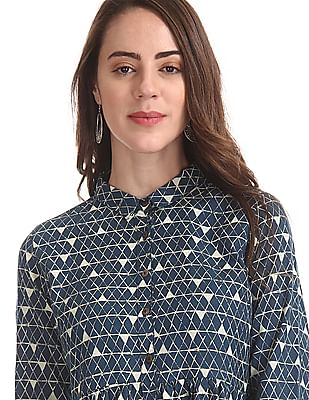 Bronz Shirt Collar Printed Tunic