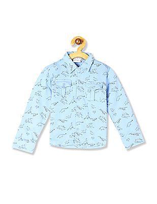 Donuts Blue Boys Dinosaur Print Knit Shirt