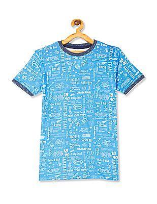 U.S. Polo Assn. Kids Blue Boys All Over Print T-Shirt
