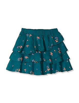 Cherokee Green Girls Tiered Floral Print Skirt