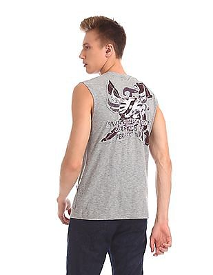 Flying Machine Rear Graphic Muscle T-Shirt