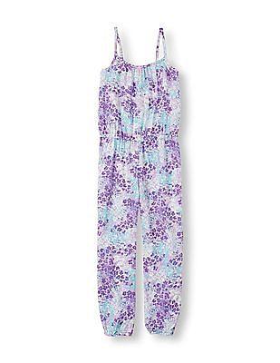 The Children's Place Girls Purple Sleeveless Floral Full-Length Romper